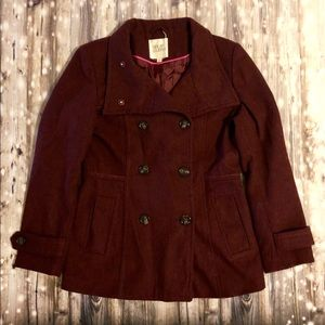 Thread & Supply maroon pea coat jacket